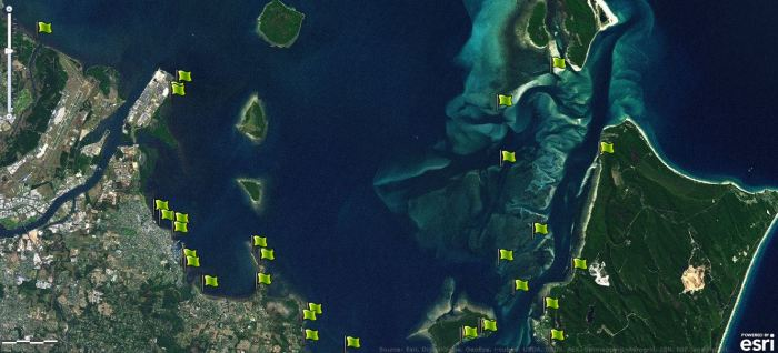 Map of Moreton Bay Seagrass Watch sites